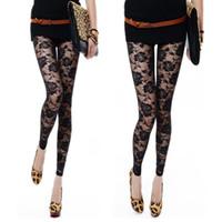 siyah ayaksız tozluklar toptan satış-Toptan-Siyah Beyaz Gül Dantel Tayt Pantolon Ayaksız Seksi Kadınlar Lady Için