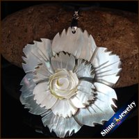 Wholesale Large Bead Pearl Necklaces - Natural Large Mother of Pearl Sea Shell Carving Flower Beads Pendant Wholesale lot Hand-carved Art Necklace for Women S086