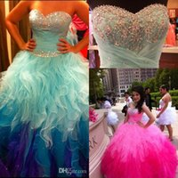 Wholesale Light Colored Ruched Dresses - Sweetheart Rainbow Colored Quinceanera Dresses 2016 Bling Crystal Beaded Tulle Ruffle Skirt Ombre Ball Gown Sweet 16 Prom Dresses