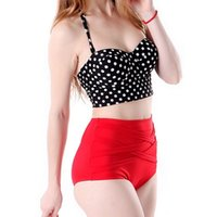 Wholesale Red Polka Dot Bra - 2016 Hot Selling Summer Style Sexy Retro Dot Polka Black Red Bikini Set Women Push Up Padded Bra Bandage High Waist Swimsuit