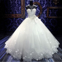 Wholesale Bandage Wedding Ball Gown - 2015 High Quality Real Photoes Bling Bling Crystal Wedding Dresses Back Bandage Tulle Appliques Floor-Length Ball Gown Wedding Gowns