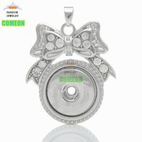 Wholesale Butterfly Acrylic Alloy Rhinestone Necklace - Hot Sale Snaps Pendant Butterfly Necklaces Snap Button Charm Crystal Rhinestone Jewelry,best gifts