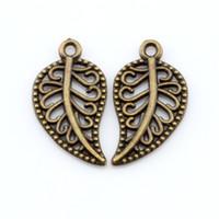 diy filigrane schmuck großhandel-Heiß ! 200Pcs antike Bronze Legierung filigrane Blätter Charme Anhänger 10,5 x 19 mm DIY Schmuck