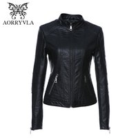 Wholesale Women S Leather Jacket Yellow - Wholesale- AORRYVLA 2017 Autumn Women Leather Jacket New Black Color Mandarin Collar Zippers Short Female Faux Leather Jackets High Quality