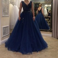 Wholesale Evening Dresses Straight Line - Navy Blue Straight Flowing A Line Prom Dresses 2017 V Neck Applique Tulle Long Plus Size Formal Evening Gowns