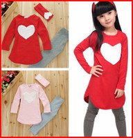 Girl Spring / Autumn 100% Cotton 50Sets Fedex TOll Ship 2016 New girls love heart 3Pc Set girls headband + Pants + Tshirt kids girls clothes sets,baby girl long sleeve shirt