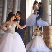 Wholesale Pearl Neck Top - 2017 Arabic Long Sleeves Crystals Ball Gown Wedding Dresses Illusion Top Beading Pearls Plus Size Arabic Maternity Bridal Gowns BA1017