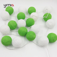 All'ingrosso- YIMIA Bianco / Verde Cotone Sfere Luci Stringa Batteria Powered Led Natale Luci Outdoor Fairy Luci di vacanza Garland Gerlyanda
