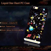 Wholesale Iphone Case Bling Starry - Cartoon Starry Sky Space Ship Bling Glitter Dynamic Liquid Hard Clear PC Case Cover for Iphone 6 6S Plus 5S 5 Phone Cases