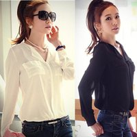 Wholesale Black Button Down Shirt Womens - Chaming 1PC S M L Lady Womens Long Sleeve OL Career Chiffon Sheer Button Down Shirt Top Blouse Snow