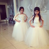 Wholesale Wholesale Ivory Flower Girl Dresses - 2016 Lovely Flower Girl Dresses for Wedding Strapless Vintage Lace Tiers Tulle Princess Long Kids Communion Gowns Toddler Glitz Pageant Gown
