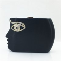 Atacado-humano Face Diamond Eyes Evening Clutch Bag Hight qualidade PU Leather Eye strass embreagem Banquetes Vestidos Mão Bag XA1195A