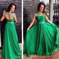 longo verde brilhante vestidos de baile venda por atacado-Verde brilhante Chiffon Long Prom Vestidos Cap Sleeve Backless Beading Sash Custom Made Formal Vestido de Noite Vestido De Dama De Honra 2018
