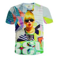 beyonce t shirt toptan satış-Alisister 2015 yeni moda kadınlar punk t gömlek beyonce üst bayan harajuku tee gömlek yaz tarzı seksi 3d Karakter t-shirt tops