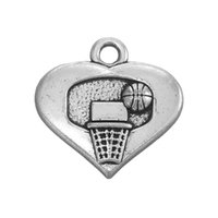 Basket-ball et cerceau Antique Silver Plated Heart Charm Bricolage Collier Bague en alliage de zinc Métal Mode Hot Sell Charm Bricolage ColliersBracelets