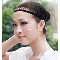 Wholesale Snood Net For Hair - Fashion Hot Black Stretchable Elastic Hair Net Snood Mesh Wig Cap for Cosplay