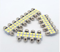 Wholesale Dome Led 36mm Blue - 100PCS 31MM 4SMD 5050 LED C5W Festoon Dome Bulb Xenon White Double pointed the Car reading light led light festoon wholesale