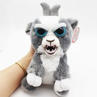 Wholesale Pet Goats - Grey Goat Funny Cute Expression Stuffed Doll Feisty Animal Pets Toys Scary Face for kids and adults 2 PACK