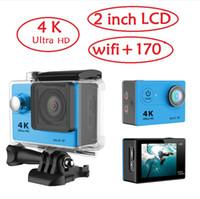 dvr spor kameraları toptan satış-Orijinal eken 4 k ultra hd eylem kamera wifi h9 spor kamera 170 derece 2 inç ekran 30 metre su geçirmez dv dalış dvr