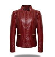 Wholesale European Womens Leather Jacket - Plus Size XL-6XL Winter Womens Long Sleeve Zipper Slim Jackets Women European Motorcycle Style PU Leather Jacket Coats