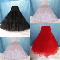 Wholesale Tea Length Underskirt - Tea Length Petticoat Swing Skirt Hoopless Short Knee Different Colors 3 Layers Organza Bridal Underskirt Skirt Prom Silps Crinoline