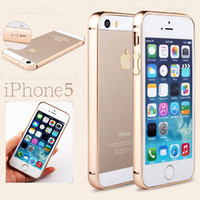 Wholesale Iphone Botton - Luxury 0.7 mm Ultra Thin Slim Aluminum Alloy Metal Frame Bumper Colorful with Botton Hard Case For iPhone 5 5S Free Shipping MOQ:10pcs