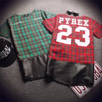 Wholesale Men Shirts Leather Sleeves - Harajuku Fashion Green Red Plaid Shirts Women Men Off White Leather Patchwork Extended T Shirt Hip Hop Short Sleeve Streetwear