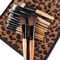 bambu leopardo venda por atacado-12pcs / set Professional Makeup Bamboo Handle Escovas Ferramentas Kabuki Pó Fundação Lip blush cosméticos escovas da composição com o processo Leopard