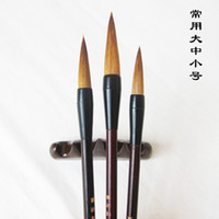 Wholesale Brush Set Numbers - Wholesale-3pcs set bamboo and Pure weasel's hair Chinese category calligraphy brush pen ink writing brush, free ship, free track number
