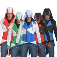 Wholesale Assassins Creed Jacket Conner - Anime Assassins Creed 3 Hooded Coat Men Jacket Conner Kenway Cosplay Outwear Daily Wear Costume Adult Gifts