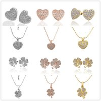 Wholesale Golden Clover - Fashion Women 925 Sterling Silver 18K Gold Plated Clover Heart Crystal Charm Brand Stud Earrings Necklace Jewelry Sets E006