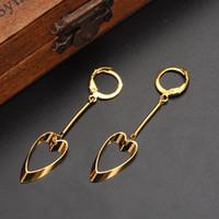 9k gold großhandel-9k Gelb Soild Gold gefüllt Coole Vintage Hollywood Glam Schaufel Herz Langer Ohrring Spezifischer Charakter Hot Trend Korean Celeb