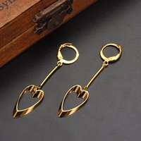 Wholesale Hollywood Hearts - 9k Yellow Soild Gold Filled Cool Vintage Hollywood Glam Shovel Heart Long Earring Specific character Hot Trend Korean Celeb