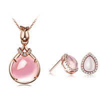 Wholesale Natural Gemstone Necklace Sets - Gemstone Jewelry 100% 925 Silver Jewelry Natural Ross Quartz Sets Love Set for Women Top Quality Free Shipping