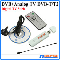 Wholesale Pvr Digital - Digital DVB-T2 TV Stick PVR Analog USB TV Tuner Dongle Remote HD TV Receiver for DVB-T2 DVB-C FM DVB AV