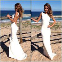 Wholesale Tight Satin Wedding Dresses - 2016 Backless Beach Wedding Dresses Vintage Bateau Neckline White Summer Wedding Gowns Sexy Bridal Dresses Spandex Tight Maxi Dresses