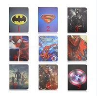 Wholesale Smart Hero - Superman Batman Hero Spider Man Super Captain America Stand holder Smart Leather case cover For ipad 2 3 4 ipad air ipad air 2 ipad6 mini123