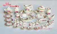 All'ingrosso-Libero! Porcellana Rose Tea Set Cena Lots Of 40PCS gastronomia piastra piatto ~ 1/12 della scala Dollhouse miniatura mobilia