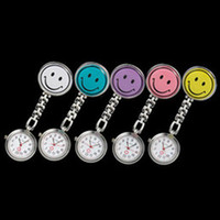 Wholesale Medical Choice - New Smile Face nurse watch Doctor Pocket Watches Metal Stainless Watch Nurse Medical Clip Watch multicolor for choice