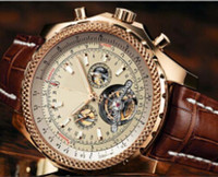 Wholesale Watch Automatic Brown - 2014 new fashion brown leather band 1884 mens watch tourbillion gold stainless steel luxury man watches