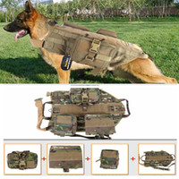 Wholesale Dogs Clothes Harness - New 5.111Army Tactical Dog Vests Outdoor Military Dog Clothes Load Bearing Harness SWAT Tactical Dog Training Molle Vest Harness Police dog