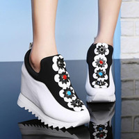 Wholesale Womens Wedges Sneakers - 2017 Summer NEW fashion flowers Womens Platform Shoes Wedges High heels Pumps casual height increasing women shoes Sneakers