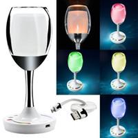 nachtlichtfarben großhandel-Neue Lampe führte Weinglasschale-Lichtfarben veränderbares RGB romantisches geführtes Win-Nachtlicht bestes Geschenk für Geliebte