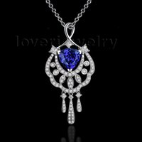 Wholesale Natural Blue Tanzanite - Wholesale-Blue Tanzanite Pendant With Natural Diamonds In 18K White Gold Trillion 8x8mm For Wedding And Party WP075