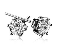 Wholesale Cute Cheap Crystal Earring - Free shipping earrings for men and women, fashion diamond jewelry, cheap stud, 925 sterling silver, Cute six claw hypoallergenic new