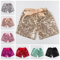 Wholesale Loose Pants For Kid Girls - Toddler baby sequins shorts for summer girls satin bowknot short pants kids boutique shorts childrens candy trouser gold hot pink blue black