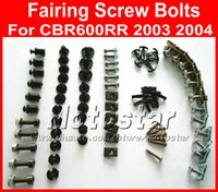 Wholesale Cheap Motorcycle Fairings Kits - Cheap Motorcycle Fairing screw bolts kit for HONDA 2003 2004 CBR600RR,CBR 600 RR 03 04 CBR 600RR black fairings aftermarket bolt screws set