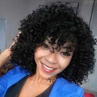 perucas curtas e curvadas de renda encaracolada venda por atacado-16 polegada de comprimento Kinky Curly Perucas Afro Lace Curto Perucas para As Mulheres Negras de Alta Temperatura De Fibra De Cabelo Sintético bea110