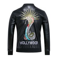 Wholesale Moto Skull - Fashion Men's Winter Leather Jackets Faux Jacket snake embroidery Stylish Slim Fit Coats Men Moto Skull Suede Jacket For Men ,M-3XL