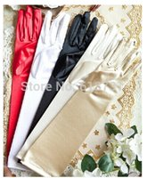 Wholesale Wedding Dresses Long Gloves - 1 Pair Full Finger Red White Ivory Black Long Satin Stretch Bridal Gloves Elbow Finger For Ladies Prom Wedding Dress Wedding Accessories